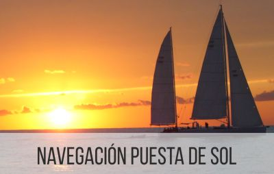Navegación con puesta de sol